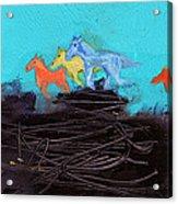 Horses Running On The Pass Acrylic Print