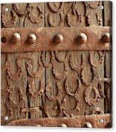 Horseshoes Decorate A Wooden Door, Jama Acrylic Print