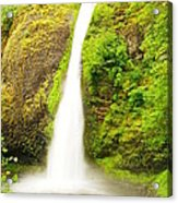 Horsetail Falls In The Spring Acrylic Print