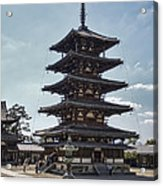Horyu-ji Temple Pagoda - Nara Japan Acrylic Print by Daniel Hagerman