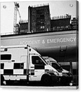 hospital accident and emergency entrance with ambulances London England UK Acrylic Print