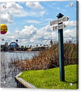 Hot Air Balloon And Old Key West Port Orleans Signage Disney World Acrylic Print
