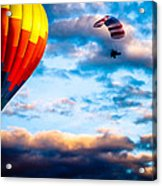 Hot Air Balloon And Powered Parachute Acrylic Print by Bob Orsillo