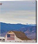 Hot Air Balloon Boulder Flag Barn And Eldora  Acrylic Print