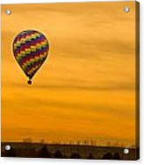 Hot Air Balloon In The Golden Sky Acrylic Print
