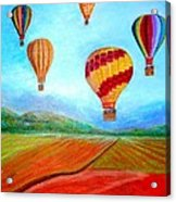 Hot Air Balloon Mural  Acrylic Print by Anais DelaVega