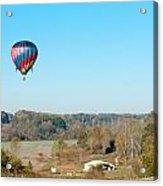 Hot Air Balloon Over Farm Land Acrylic Print