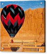 Hot Air Balloon Over Thebes Temple Acrylic Print by John G Ross