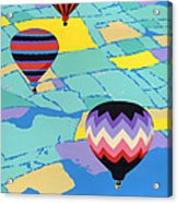 Abstract Hot Air Balloons - Ballooning - Pop Art Nouveau Retro Landscape - 1980s Decorative Stylized Acrylic Print