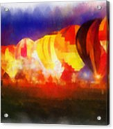 Hot Air Balloons Night Glow Photo Art 01 Acrylic Print