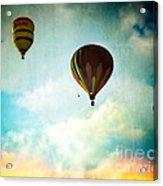 Hot Air Baloons In Blazing Sky Acrylic Print