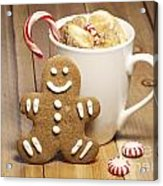 Hot Chocolate Toasted Marshmallows And A Gingerbread Cookie Acrylic Print