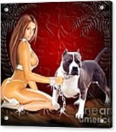 Hot Girl With Pit Bull Acrylic Print