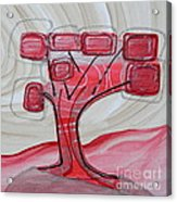 Hot Pink Geom Tree Acrylic Print