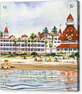 Hotel Del Coronado From Ocean Acrylic Print by Mary Helmreich