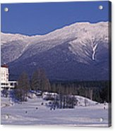 Hotel Near Snow Covered Mountains, Mt Acrylic Print
