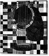 Hour Glass Guitar Random Bw Squares Acrylic Print