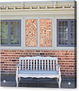 House Brick Exterior With Wood Bench Acrylic Print