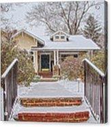 House During Winter Snowfall At Sayen Gardens Acrylic Print
