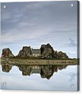 House In Between Rocks Reflected Acrylic Print