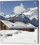 House In The Alps In Winter Acrylic Print by Matthias Hauser