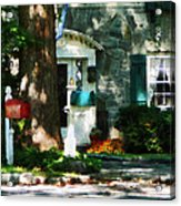 House With Turquoise Shutters Acrylic Print
