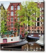 Houseboats And Houses On Brouwersgracht Canal In Amsterdam Acrylic Print