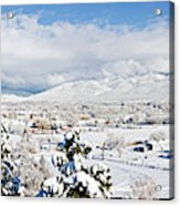 Houses And Trees Covered With Snow Acrylic Print