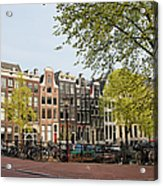 Houses On Singel Canal In Amsterdam Acrylic Print