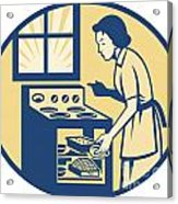 Housewife Baker Baking In Oven Stove Retro Acrylic Print