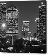 Houston Skyline At Night Black And White Bw Acrylic Print