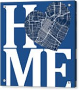 Houston Street Map Home Heart - Houston Texas Road Map In A Hear Acrylic Print