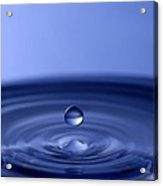 Hovering Blue Water Drop Acrylic Print by Anthony Sacco