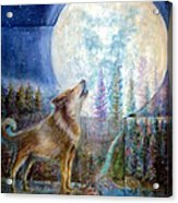 Wolf Howling And Full Moon Acrylic Print