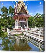 Hua Hin Temple Pond Acrylic Print