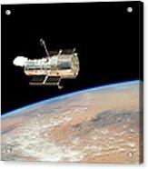 Hubble  Telescope  In  Orbit  Above  Earth Acrylic Print