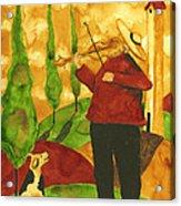 Hubbs Art Folk Prints Whimsical Animal Dogs Pet Music Instrument Fiddler Violin Acrylic Print
