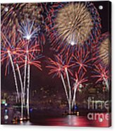Hudson River Fireworks Viii Acrylic Print by Clarence Holmes