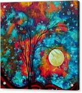 Huge Colorful Abstract Landscape Art Circles Tree Original Painting Delightful By Madart Acrylic Print