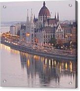 Hungarian Parliament At Sunrise Acrylic Print