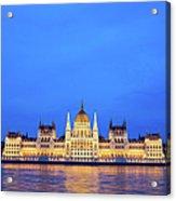 Hungarian Parliament Building At Dusk Acrylic Print