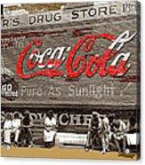 Hunter's Drug Store Coca-cola Mural Greensboro Georgia Marion Post Wolcott Fsa Spring 1939-2014  Acrylic Print