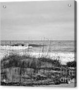 Hunting Island Beach In Black And White Acrylic Print