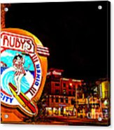 Huntington Beach Downtown Nightside 2 Acrylic Print by Jim Carrell