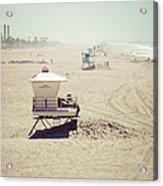 Huntington Beach Lifeguard Tower #1 Vintage Picture Acrylic Print