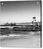 Huntington Beach Pier Black And White Picture Acrylic Print by Paul Velgos
