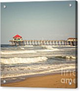 Huntington Beach Pier Retro Toned Photo Acrylic Print by Paul Velgos