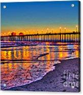 Huntington Beach Pier Sundown Acrylic Print