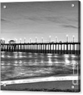Huntington Beach Pier Twilight - Black And White Acrylic Print