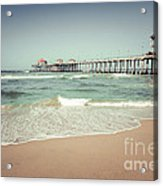 Huntington Beach Pier Vintage Toned Photo Acrylic Print by Paul Velgos